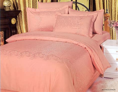 beatrice salmon 6 piece full queen bedding embroidered