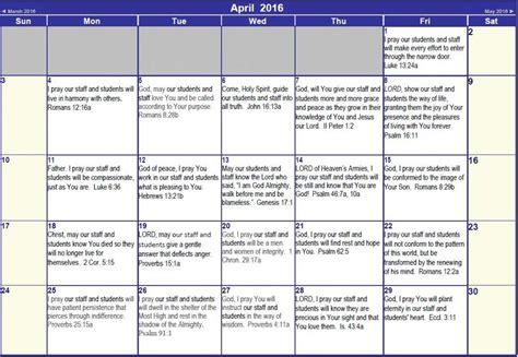 Christian Calendar Prayer Calendar Faith Christian School