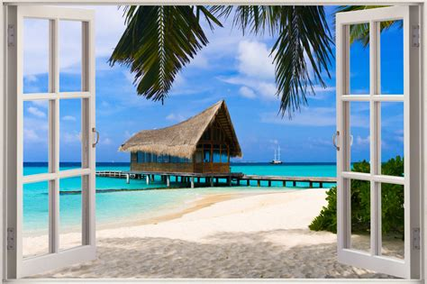 Paint By Number Wall Murals huge 3d window exotic ocean beach view wall stickers film