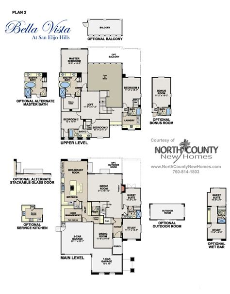 bella vista floor plans floor plans at bella vista in san elijo hills new homes