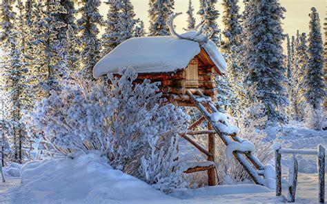 snowy cottage wallpaper 31360