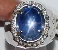 Cincin Titanium Safir Birma khasiat batu cincin blue safir