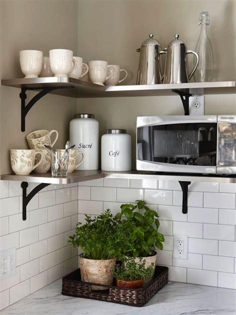 kitchen corner shelves ideas 15 microwave shelf suggestions