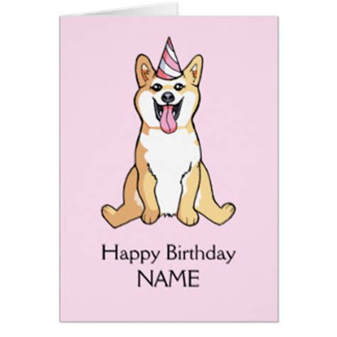 Birthday Card Template For Dogs by Shiba Inu Greeting Cards Zazzle