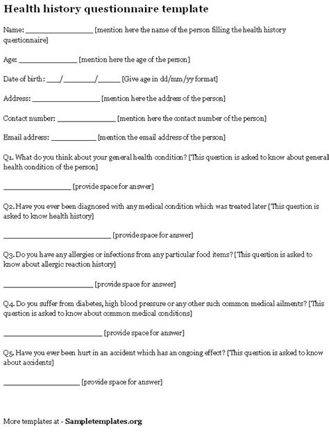 bio questionnaire template health questionnaire form images