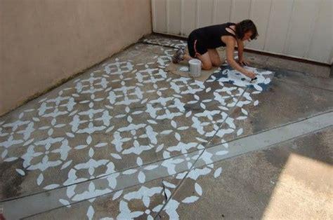 stencil concrete patio earth pinterest