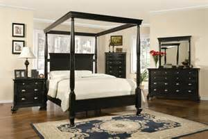 Black King Size Canopy Bedroom Set Wooden Canopy Bed With Curving Board Also