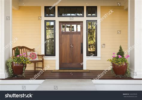 Wooden Front Door Of A Home Front View Of A Wooden Front Front Door Of A House