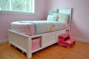 Toddler Bed With Storage Diy White Hailey Storage Bed Diy Projects