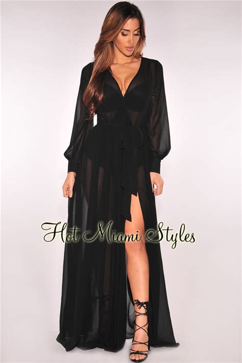 Sleeve Belted Dress black faux wrap sleeves belted maxi dress