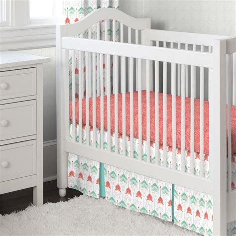 Coral And Teal Arrow Crib Bedding Carousel Designs Coral And Teal Crib Bedding