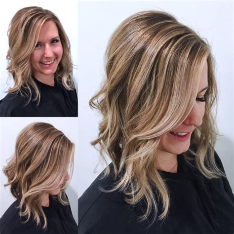 women s undone textured lob with long side swept bangs and pale women s playful bob with flipped ends