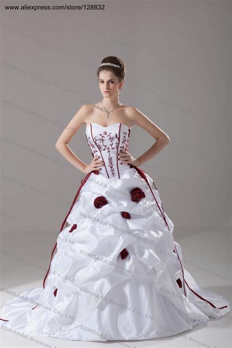 Size 6 Wedding Dresses by Plus Size Wedding Dress Burgundy Embroidery Ivory White