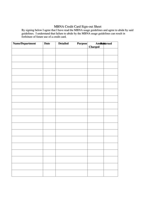 credit card sign out template mbna credit card sign out sheet printable pdf