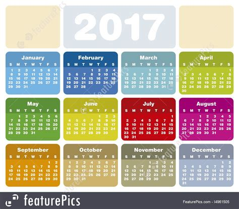 illustration of calendar for year 2017