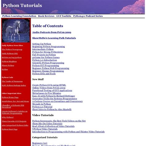 python tutorial intermediate python tutorials more than 300 updated march 2 2009 and