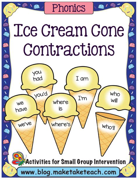printable contraction poster ice cream cone contractions make take teach