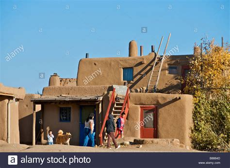 pueblo adobe houses inhabited adobe houses taos pueblo new mexico usa stock
