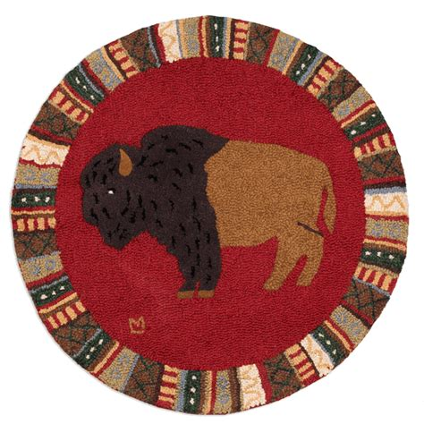 3 foot rug cinnamon buffalo hooked wool rug 3 foot