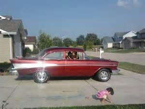 find used 1957 chevy bel air maroon color 2 door hardtop