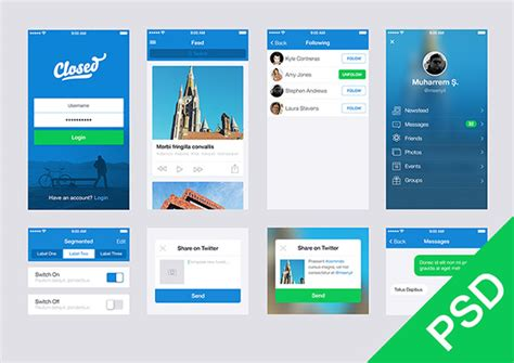 apps themes psd free ui set for app design freebiesbug