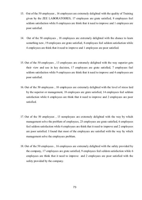 Mba Project Report On Employee Satisfaction by Mba Project Report At Quot Employee Satisfaction Quot