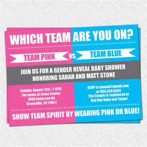 gender reveal baby shower invitation printable team