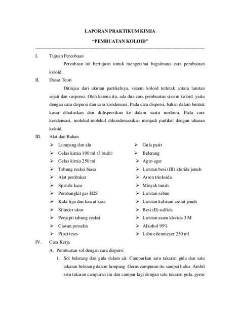 pembuatan laporan praktikum kimia laporan praktikum pembuatan koloid