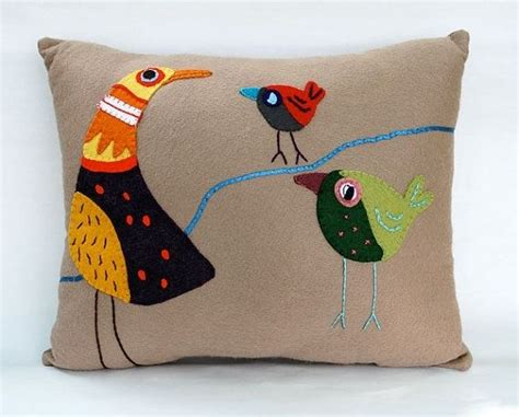 Felt Throw Pillows by Handmade Wool Felt Bird Accent Throw Pillow By B Sings