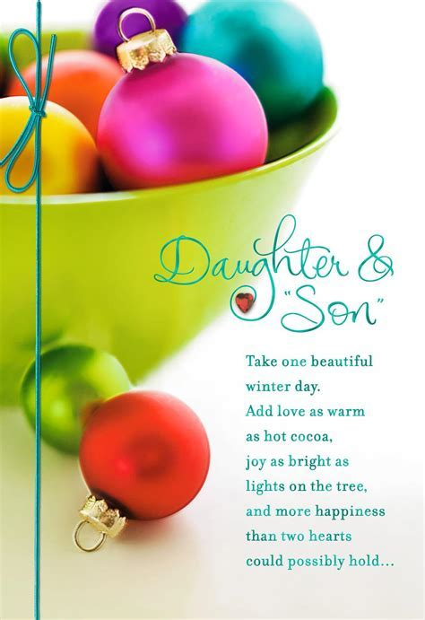 Colorful Ornaments Christmas Card for Daughter and Son in