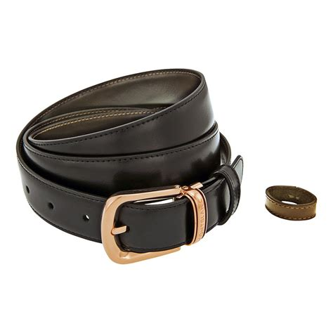 Mountblanc M 008 Leather Brown montblanc classic line trapeze buckle reversible black brown leather belt 109737 fashion