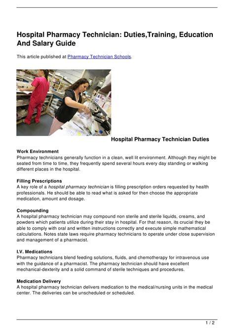 hospital pharmacy technician duties training education