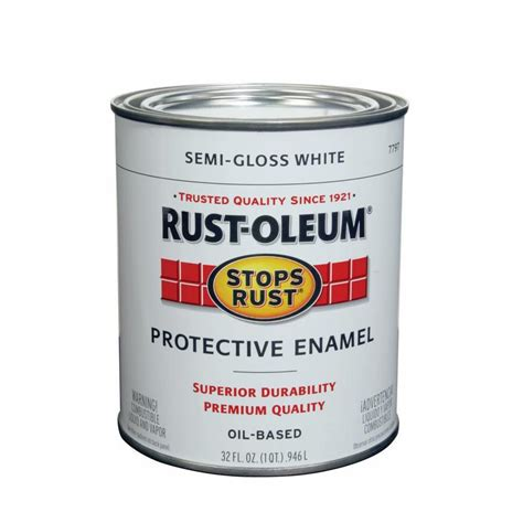 shop rust oleum stops rust white semi gloss based enamel interior exterior paint actual net