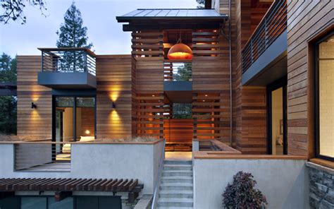 creative contemporary all wood hillside home design the hillside house