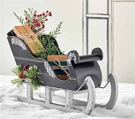 sleigh decor wooden sleigh decor pottery barn