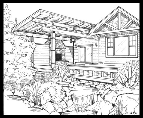 country house coloring pages backyard scene adult coloring pages pinterest