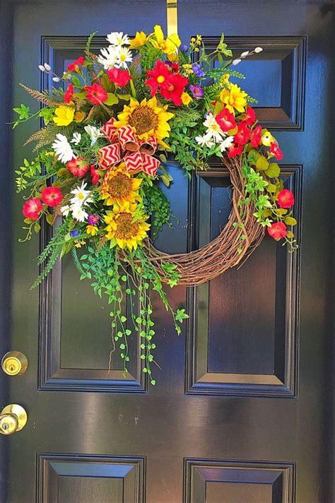 spring wreath summer door wreath wreath front