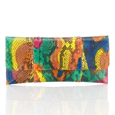 Clutch Python Multi Rainbow L Size carlos falchi flat multi bright python clutch