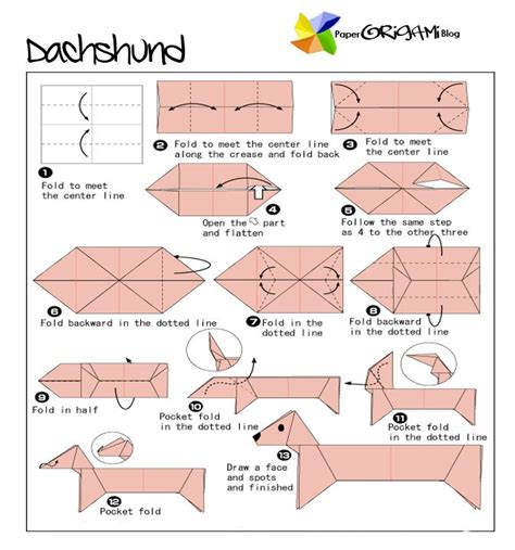 tutorial origami dog dachshund origami folding pet patterns and great