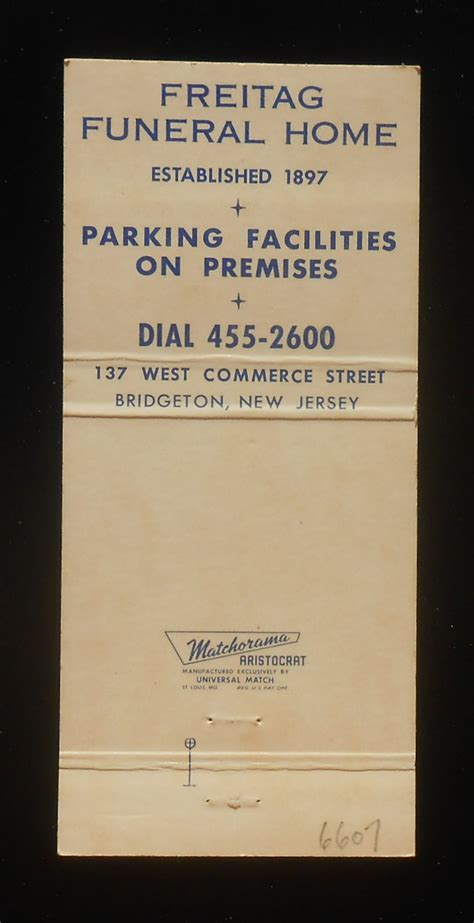 1960s matchbook freitag funeral home 137 west commerce