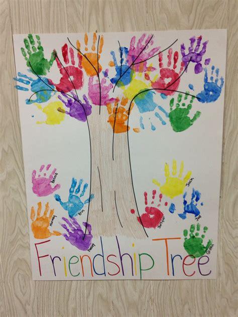 drawing themes for kindergarten preschool handprint friendship tree 4 s pinterest