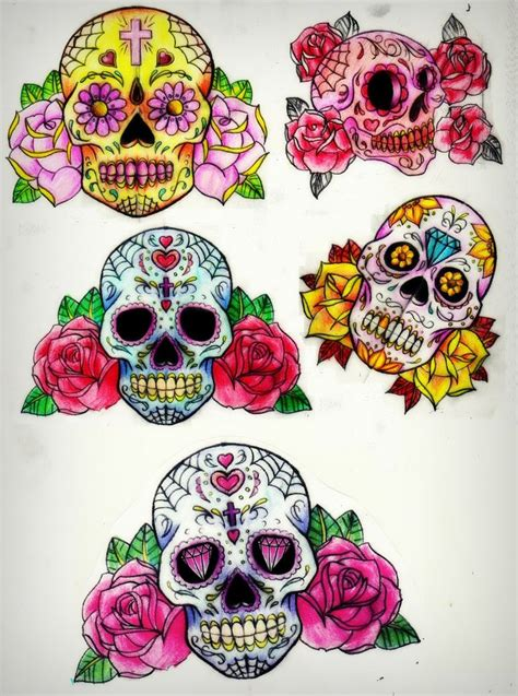sugar skull tattoo with roses day of the dead on sugar skull dia de and