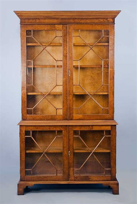 walnut glass door bookcase for sale antiques
