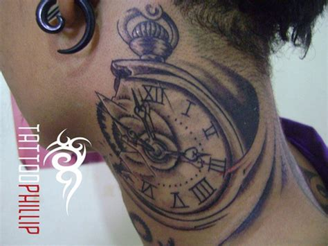 nice tattoos 14 clock tattoos on neck