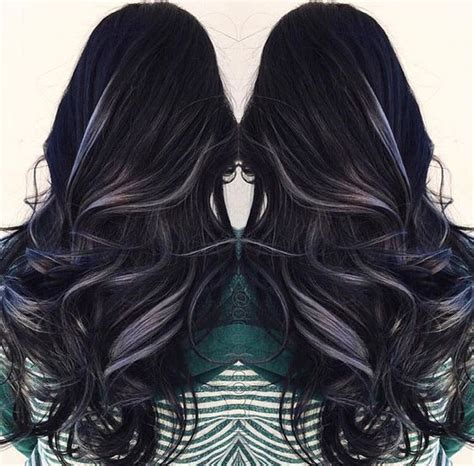 grey highlights in dark hair 25 best ideas about black hair with highlights on