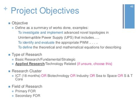 project objective statement exle e science grant khairul 2012