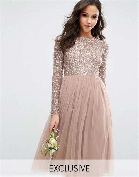 Mahya Dress sleeved midi dress with delicate sequin and