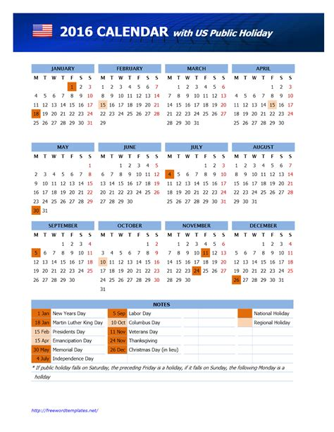 2016 Calendar With Holidays Usa | 2016 usa public holidays calendar freewordtemplates net