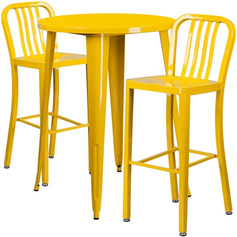 Yellow Bar Table 30 Yellow Metal Indoor Outdoor Bar Table Set With 2 Vertical Slat Back Stools Ch