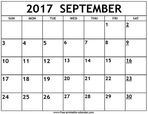 printable calendar sept 2017 printable 2017 september calendar